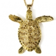 Neckpiece: Gold And Diamond Hawksbill Turtle